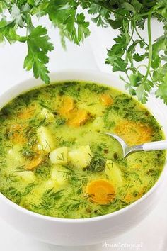 Zupa koperkowa. Polish dill soup. Soup Recipes, Vegan Recipes, Cooking Recipes, Light Soups, Polish Recipes, Vegan Soup, Healthy Dishes, World Recipes, Diy Food