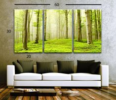 """LARGE 30""""x 60"""" 3 Panels Art Canvas Print Beautiful Nature Forest Scenery Trees Wall decor interior Home (Included framed 1.5"""" depth) - BoxColors"""