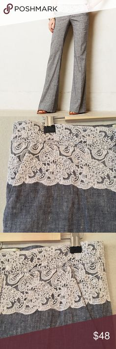 "Elevenses Anthropologie Brighton laced trousers VGUC. No stains or rips. A few places where the tiny mesh between the lace has a spot or two missing, but it not noticeable when worn. Elevenses Anthropologie laced Brighton wide legged trousers in a blue-gray woven fabric. Front slash pockets. 61% linen, 37% cotton, 2% spandex. Unlined. Measurements (flat): waist 16"", hip 18"", rise 9"" inseam 33"", leg opening 11"". 3.5"" zip fly w/ double hook-and-bar closure and inside button. Style…"