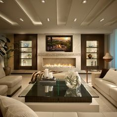 Linear fireplace in Contemporary Residence Boca Raton, Florida - contemporary - Living Room - Miami - Interiors by Steven G