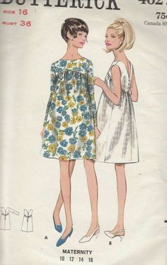 Vintage Maternity Dress Sewing Pattern - Size 16 - would be cute adjusted for nonmaternity wear Maternity Dress Pattern, Maternity Patterns, Robes Vintage, Vintage Dresses, Vintage Outfits, Maternity Fashion, Maternity Dresses, Maternity Pictures, Retro Fashion