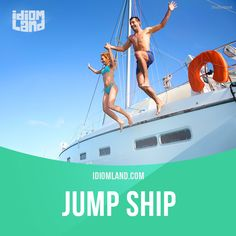 """""""Jump ship"""" means """"to leave a job or activity"""".  Example: The original star of the TV series jumped ship after the first season.  #idiom #idioms #slang #saying #sayings #phrase #phrases #expression #expressions #english #englishlanguage #learnenglish #studyenglish #language #vocabulary #efl #esl #tesl #tefl #toefl #ielts #toeic"""