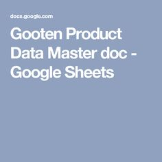 Gooten Product Data Master doc - Google Sheets