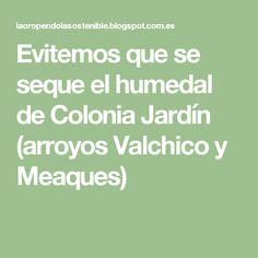 Evitemos que se seque el humedal de Colonia Jardín (arroyos Valchico y Meaques)