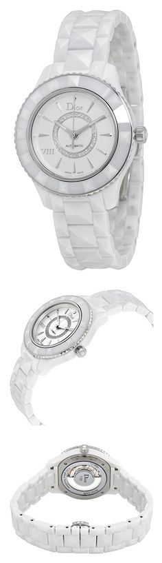 Christian Dior VIII White Diamond-set Dial White Ceramic Ladies Watch CD1235E3C001 #watch #christiandior #wrist_watches #watches #women #departments #shops