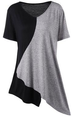 Color Block Asymmetrical Plus Size T-Shirt