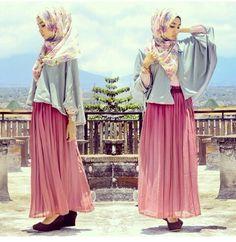 :) pink skirt flow top hijab