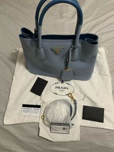 4b1a4a6461d1 PRADA Saffiano Leather Cuir Small Double Tote Purse Bag #fashion #clothing  #shoes #