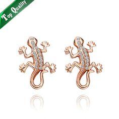 18k or, plaqué or blanc maison lézard strass cristal autrichien 18krgpe561 boucles d'oreilles bijoux de mode