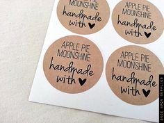 round sticker for on jar lids pics   Apple Pie Moonshine Kraft Brown Mason Jar Labels / Custom Jar Labels