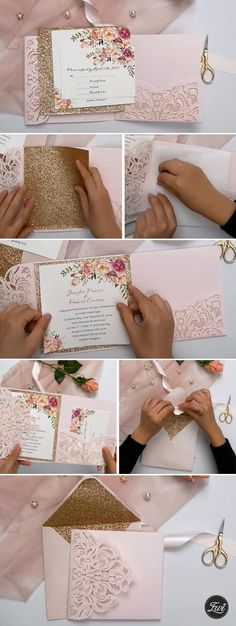 Most current Screen romantic blush pink spring flower glittery laser cut pocket wedding invitation Strategies Wedding Invitation Cards-Our Methods Once the date of one's wedding is fixed and the Spot is booke Elegant Wedding Invitations, Pocket Wedding Invitations, Rustic Invitations, Event Invitations, Blush Rose, Blush Pink, Flower Invitation, Diy Wedding, Wedding Flowers