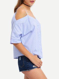 Vertical Striped Off-The-Shoulder Cami Blouse