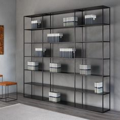 Hereafter some information about EASY IRONY, modular, demountable bookcase designed 2015 by Maurizio Peregalli for ZEUS. Vertical elements are made of steel square tube 15 x 15 mm while the plug-in shelves (male/female) in bent sheet steel, mm thick -. House Shelves, Metal Shelves, Display Shelves, Shelving, Male Office Decor, Regal Display, Bookshelves In Living Room, Bookcases, Floor Shelf