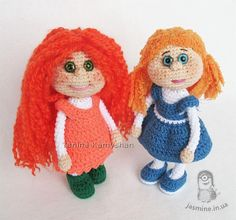 Two toys Best friends amigurumi doll with clothes crochet