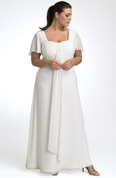 Bridesmaids Dresses - JS Collections Draped Cationic Chiffon Gown (Plus) A fabric rosette sits at the ruched waistline of an elegant gown, artfully draped th
