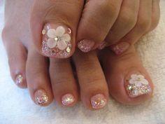 Pretty Toe Nails, Cute Toe Nails, Cute Acrylic Nails, Love Nails, Fun Nails, Pedicure Nail Designs, Pedicure Nail Art, Toe Nail Designs, Toe Nail Art