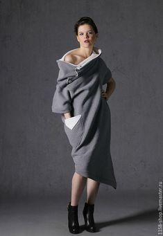 636fd87c3960 Купить Платье оверсайз с воротником труба - серый, авторская одежда,  дизайнерская одежда, дизайнерские