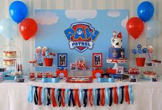 Paw Patrol Party details to LOVE…. ♥ Amazing Paw Patrol themed birthday cake with Marshall cake topper ♥ Paw Patrol paw shaped cookie pops ♥ Paw Patrol themed cake pops ♥ Fun party backdrop w… 4th Birthday Parties, Birthday Fun, Birthday Ideas, Birthday Cake, Third Birthday, Paw Patrol Cake, Paw Patrol Birthday Decorations, Paw Patrol Birthday Theme, Partys