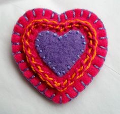Fancy Pink and Lavender Heart Brooch - Hand Embroidery on Felt