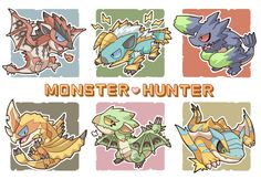 Chibi monsters! Rathalos, Zinorge, Brachydios, Seregios, Rathian, and Tigrex.