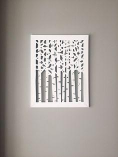 Canvas Cut Birch Trees by DzignCustomArt on Etsy Metal Tree Wall Art, 3d Wall Art, Unique Wall Art, Art Mural, Diy Wall Decor For Bedroom, Frame Wall Decor, Diy Canvas Art, Canvas Frame, Cut Out Canvas