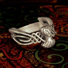 Celtic Owl Ring in Sterling Silver Traditional by CelticEternity, $97.00