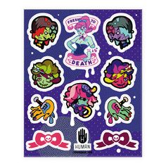 Zombie Girlfriend  - Cute pastel undead stickers featuring zombie girlfriends and boyfriends. Bows with skulls and worms worming out of brains.