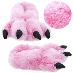 Pink Fuzzy Bear Paw Animal Slippers for Women and Men Large ($21) found on Polyvore
