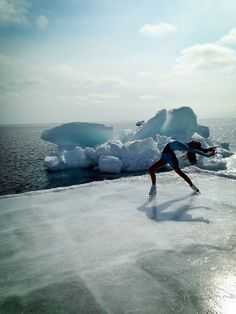 Amazing photo of figure skating on a glacier - anyone up for a trip there?