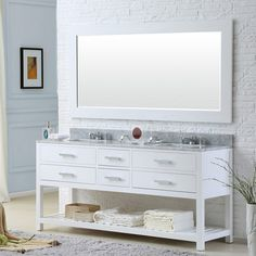 This Water Creation premier double-sink bathroom vanity will add a level of sophistication and class to any bathroom decor. Constructed of hardwood and not particle board, this vanity is d Double Sink Bathroom, Single Bathroom Vanity, Bathroom Vanities, Small Bathroom, Minimal Bathroom, Attic Bathroom, Master Bathrooms, Bathroom Cabinets, Home Depot