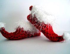 free crochet Christmas slipper patterns | Crochet Elf Slippers Baby Booties Christmas Booties Santa Booties Elf ...