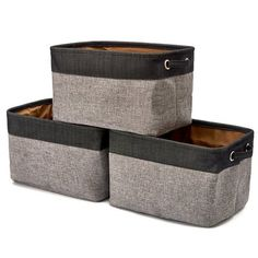 EZOWare Small Collapsible Storage Bins Baskets 12 x 7 x 4 inch Light Gray Pack of 6 Foldable Canvas Fabric Tweed Organizer Set with Handles for Nursery Kids Toddlers Home and Office