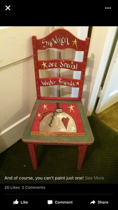 Painted chair Snowman Crafts, Christmas Projects, Holiday Crafts, Christmas Ideas, Hand Painted Chairs, Hand Painted Furniture, Wooden Chairs, Primitive Christmas, Christmas Snowman