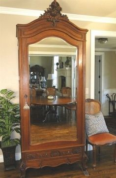 Antique Wardrobe Armoire French Single Door Beveled Mirror Carved Walnut C  1910 #FrenchFrenchCountry
