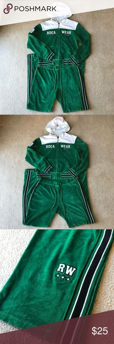 Green Rocawear Tracksuit -Gently used -Unique -BRIGHT! Rocawear Pants Track Pants & Joggers