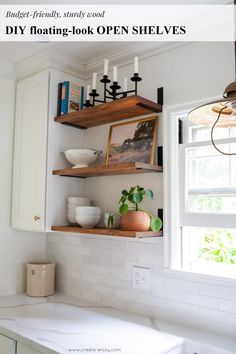 DIY, budget-friendly floating-look open shelves! DIY, budget-friendly floating-look open shelves! Diy Tumblr, Floating Shelves Kitchen, Floating Storage Shelves, Long Floating Shelves, Diy Kitchen Shelves, Kitchen Cabinets, Narrow Cabinet, Shelf Inspiration, Diy Regal