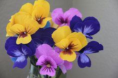 Pansies- Paper Flowers- Crepe Paper Pansies