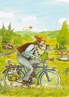 Pettson och Findus. Famous children´s character and his cat on one of their many adventures.