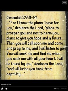 .Jeremiah 29:11-14