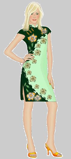 classic cheongsam pattern!  for free, even.  I'd like to make a cotton one for summer wear.