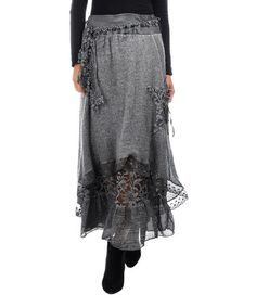c3d1f87675 La Fille du Couturier Gray Embroidered Lacy Asymmetrical Maxi Skirt