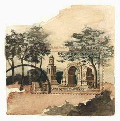 Original Framed Art: Saint Rémy Les Antiques, France Postage Stamp Painting