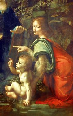 Leonardo da Vinci, Italian, Virgin of the Rocks (detail), Oil on wood (transferred to canvas in Musée du Louvre, Paris. Renaissance Kunst, High Renaissance, Famous Artists, Great Artists, Time Painting, Italian Art, Art World, Les Oeuvres, Art History