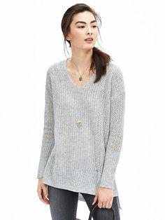 Lace-Stitch Vee Pullover
