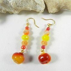 Boucles d'oreilles plaqué or jaune - boucles d'oreilles verre de bohème - création de bijoux par breloques de sophie