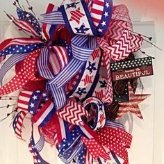 Summer Patriotic Wreath, Ribbon Wreath, Summer Wreath, Fourth of July Wreath, Red White and Blue Wreath by LadySlipperWreaths on Etsy