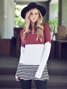 Women's Burgandy Striped Long Sleeve Shirt Preorder