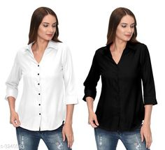 Checkout this latest Shirts Product Name: *Fashionable Contemporary Women's Polyester Solid Women's Shirts(Pack Of 2)* Fabric: Polyester Sleeve Length: Three-Quarter Sleeves Pattern: Solid Multipack: 2 Sizes: S, M, L, XL Country of Origin: India Easy Returns Available In Case Of Any Issue   Catalog Rating: ★3.8 (293)  Catalog Name: Fashionable Contemporary Women's Polyester Solid Women's Shirts Combo CatalogID_446822 C79-SC1022 Code: 405-3240593-1131