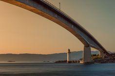 Híd, Világítótorony, Napnyugta, Tengeren
