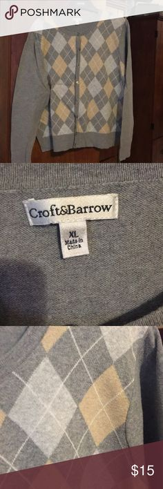 Grey argyle sweater This is an XL cardigan argyle sweater in great with beige print. croft & barrow Sweaters Cardigans